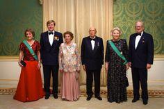 (L-R)Princess Margriet, Crown Prince Willem-Alexander, Clio Napolitano her husband Italian President Giorgio Napolitano, Queen Beatrix and  Pieter van Vollenhoven