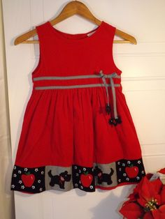 Girls RARE EDITIONS Red Corduroy Dress w/Scottish terrier/apple designs, size 6 #RareEditions #DressyHoliday #shopping