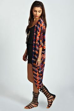 Jade Bright Geo Print Batwing Kimono at boohoo.com