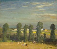 Landscape with Hayfield and Poplars George Clausen