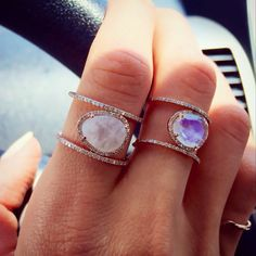 Double Band Moonstone Rings by Luna Skye by Samantha Conn