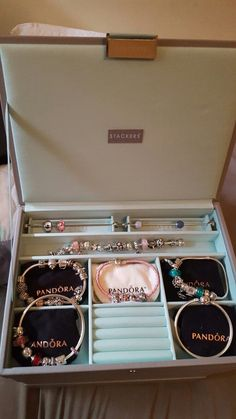 My stackers jewellery box with pandora inside ❤ - -You can find Pandora and more on our website.My stackers jewellery box with pandora inside ❤ - - Pandora Beads, Pandora Bracelet Charms, Pandora Rings, Pandora Jewelry, Pandora Charm Box, Art Deco Jewelry, Cute Jewelry, Jewelry Box, Tiara Ring