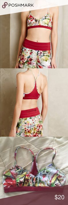 """Anthropologie Pure + Good Floral Sports Bra Has very little padding. No flaws. Never worn. Band measure flat: 12"""", stretch 1-2"""". Anthropologie Tops Crop Tops"""