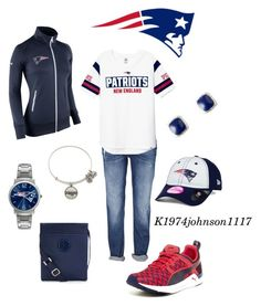 """""""Football Season...Go Pats!!!"""" by k1974johnson1117 ❤ liked on Polyvore featuring NIKE, Alex and Ani, Game Time, Puma, New Era, Tory Burch and Vera Bradley"""