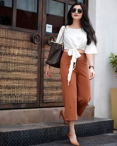 Coffee date outfit/ street style- white crop top, tan culottes, tan heels, michael kors tote bag