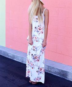 So Perla White Floral Sleeveless Maxi Dress | zulily