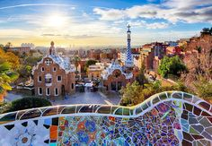 Barcelona - Park Guell, Spain Stock Photo - Image of cityscape, gaudi: 67046876 Gaudi, Cheap Places To Travel, Places To Go, Cheap Travel, Barcelona Park Guell, Barcelona City, Barcelona Tourism, Hall Hotel, Casa Bonay