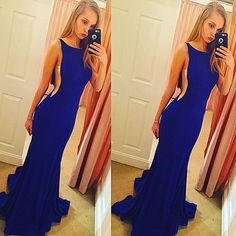 2017 Custom Made Charming Royal Blue mermaid Prom Dress, Sexy Sleeveless Evening Dress,Sexy Backless Prom Dresses,Backless Prom Dresses,satin Mermaid Formal Gowns, Prom Dress,Formal Gowns Plus Size, Cocktail Dresses, formal dresses,Wedding guests dresses