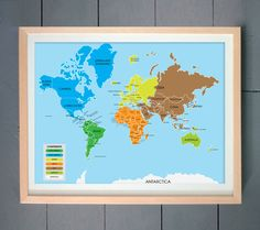 World map children decor kids wall art for children baby nursery find this pin and more on boys room world map gumiabroncs Images