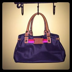 KATE SPADE Satchel Cute, small Brown with Pink and Purple, Kate Spade satchel bag.  Pre-loved but good condition. Kate Spade Bags Satchels