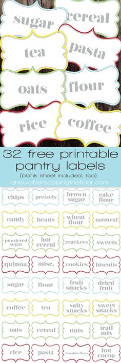 Free Printable Pantry Labels | 32 Labels and a Blank Page, too | Instant Downloads