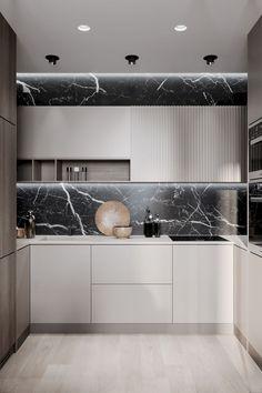 38 Modern Minimalist Kitchen Design with Granite Decoration - Design Ort Modern Kitchen Cabinets, Kitchen Cabinet Design, Modern Kitchen Design, Interior Design Kitchen, Diy Interior, Modern Kitchens, Small Kitchens, Kitchen Counters, Dream Kitchens