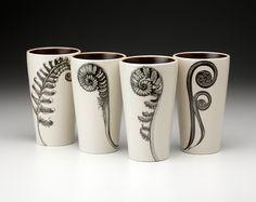 Laura Zindel Design - Set of 4 Tumblers: Ferns, $168.00 (http://www.laurazindel.com/set-of-4-tumblers-ferns/)