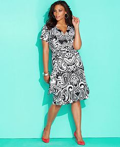 INC International Concepts Plus Size Dress, Short-Sleeve Printed Faux-Wrap - Dresses - Women - Macy's