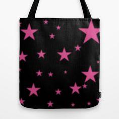 Glowing Pink Stars on Black Tote Bag