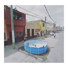 "Agoraphobic Traveller (@streetview.portraits) su Instagram: ""Google Street View Scene - Swimming pool in the middle of the street, Callao District, Callao"