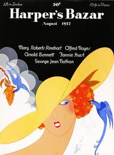 Harper's Bazaar, August (Cover art by Erte {Romain de Tirtoff}) Art Nouveau, Fashion Magazine Cover, Magazine Covers, Magazine Stand, Magazine Art, Erte Art, Romain De Tirtoff, Art Deco Artists, Inspiration Art