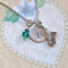 Saxophone Hand Stamped Sterling Silver Initial Charm Necklace by DolphinMoonCreations