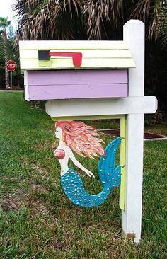 Mermaid Mailbox or Decorative Corner Bracket Tropical Mailboxes, Unique Mailboxes, Mermaid Crafts, Mermaid Diy, Mermaid Cove, Mermaid Beach, Sea Siren, Decorative Brackets, Mermaid Images