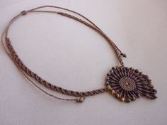 """macrame necklace / choker with tiger eye beads - """"Tiger spiral"""" by Knotify on Etsy"""