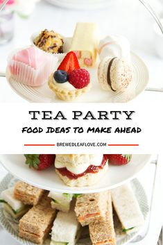 Easy, creative and delicious tea party food ideas that cover all three afternoon. Easy, creative and delicious tea party food ideas that cover all three afternoon tea courses: sand Dessert Party, Party Food Menu, Tea Party Desserts, Food For Tea Party, Tea Party Recipes, Party Food Ideas, Tea Party Snacks, Party Food For Adults, Best Party Food