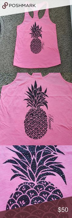 Victoria's Secret PINK Hawaii Pinapple Tank Excellent condition, all crystals there!  Soft, comfy tank top.  I love this top and not 100% sure I want to sell but maybe for the right price. PINK Victoria's Secret Tops Tank Tops