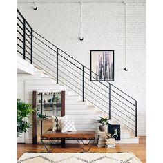 Darrow Tan Leather Ottoman with Geometric Metal Legs Indoor Railing, Modern Stair Railing, Stair Railing Design, Staircase Railings, Bannister, Metal Railings, Stair Case Railing Ideas, Modern Stairs Design, Black Railing
