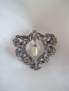 Vintage Marcasite & Drop Pearl Avon Brooch by RepurposedTreasure, $15.00    ....SOLD