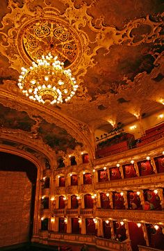 Interior of Prague State Opera (former New German Theatre as well as Smetana Theatre)