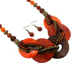 """$6.25 17"""" Intertwined Bead and Shell Disk Necklace and Earring Set"""