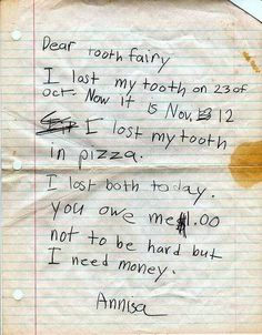 Funny pictures about Dear Tooth Fairy. Oh, and cool pics about Dear Tooth Fairy. Also, Dear Tooth Fairy. Funny Notes From Kids, Kids Notes, Funny Kids, Funny Shit, The Funny, Funny Stuff, Funny Things, Funniest Things, Funny Moments