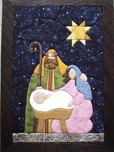 kimekomi na Christmas - Zszywka. Christmas Applique, Christmas Sewing, Christmas Nativity, Felt Christmas, Christmas Holidays, Christmas Ornaments, Nativity Crafts, Christmas Projects, Christmas Crafts