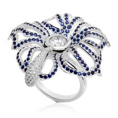 """Ring """"Belle Tragédie"""" in white gold, diamonds and sapphires by Jasmine Alexander"""