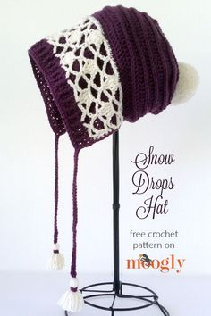 Snow Drops Hat - free crochet pattern on Moogly! Make it with LB Collection Superwash Merino!