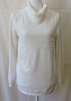 Karen Scott Women White Cowl Neck Sweater Size M #KarenScott #CowlNeck