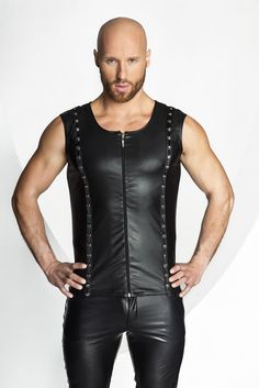 Men`s sleeveless shirt made from a wet-look fabric with studded and rings applications along two front vertical lines and zipper in the middle. Eco Clothing, Clothing Items, Body Dessous, Men's Leather Jacket, Sleeveless Shirt, Clubwear, Sexy, Athletic Tank Tops, Shirts