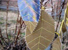 Items similar to Leaf garland from recycled, upcycled billboard with sewn yellow leaf veins, made to order on Etsy Leaf Garland, Yellow Leaves, Billboard, Upcycle, Recycling, Creative, Street, Etsy, Free Shipping