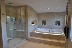 Bath & Shower View : modern Bathroom by Daman of Witham Ltd Jacuzzi Bathroom, Bathtub Shower Combo, Ensuite Bathrooms, Dream Bathrooms, Bath Shower, Jacuzzi Tub, Attic Bathroom, Modern Bathrooms, Bath Tub