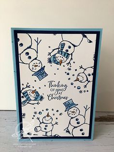 Snowman Season Christmas Card Inspiring Inkin - Amanda Fowler Shop for Stampin Up UK products Homemade Christmas Cards, Christmas Tree Cards, Stampin Up Christmas, Xmas Cards, Christmas Snowman, Handmade Christmas, Homemade Cards, Holiday Cards, Chrismas Cards