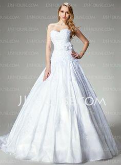 Wedding Dresses - $223.49 - Ball-Gown Sweetheart Chapel Train Taffeta Wedding Dresses With Lace  Beadwork (002000680) http://jjshouse.com/Ball-gown-Sweetheart-Chapel-Train-Taffeta-Wedding-Dresses-With-Lace--Beadwork-002000680-g680