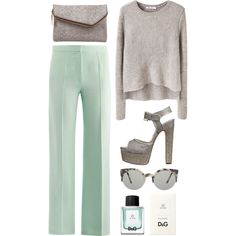 mint pants + grey accessories. This is lovely!