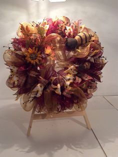 Fall Bumble Bee Wreath by HeartHomeandCrafts on Etsy https://www.etsy.com/listing/532435226/fall-bumble-bee-wreath