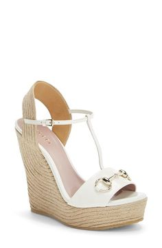 Gucci 'Rafia' T-Strap Wedge Sandal (Women) available at #Nordstrom