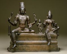 Shiva, Uma (Parvati), and Their Son Skanda (Somaskandamurti), 11th c. Chola Period, Tamil Nadu, Bronze