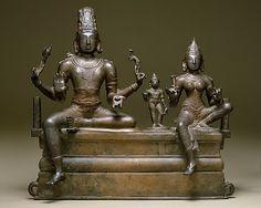Shiva, Uma (Parvati), and Their Son Skanda (Somaskandamurti), 11th c. Chola Period, Tamil Nadu, Bronze