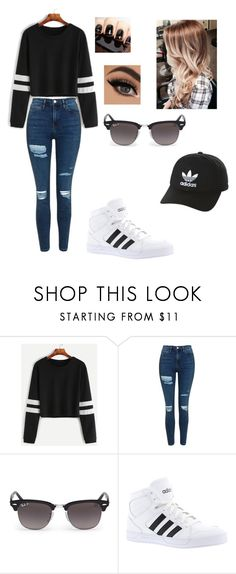 """Untitled #75"" by mjxoxo13 ❤ liked on Polyvore featuring Topshop, Ray-Ban, adidas and adidas Originals"
