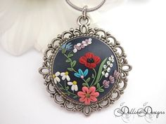 Meadows of Heaven  Handmade Floral Pendant  by DellineDesigns