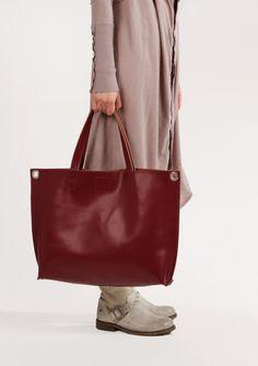 "Dark Red Leather Crossbody Tote Bag ""Michelle Bordo"", Oversized Shopping Bag, Handmade Tote, Women Laptop Bag"