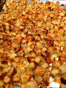 Oven Roasted Breakfast Potatoes= Yields 6 servings, serving size 1/2 c 3 points on Weight Watchers Points+ System (if made with red potatoes) 4 points on Weight Watchers Poi...