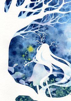 girl. tree. white. blue.